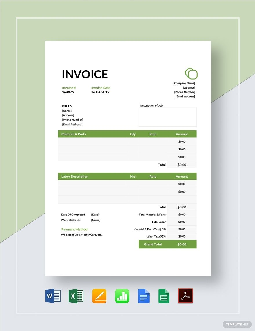 Garage Invoice Template Free Pdf Word Excel Apple Pages Google Docs Google Sheets Apple Numbers Invoice Template Invoice Format Words