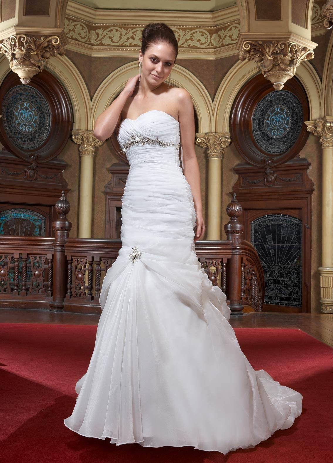 Organza strapless sweetheart ruffled bodice aline wedding dress a