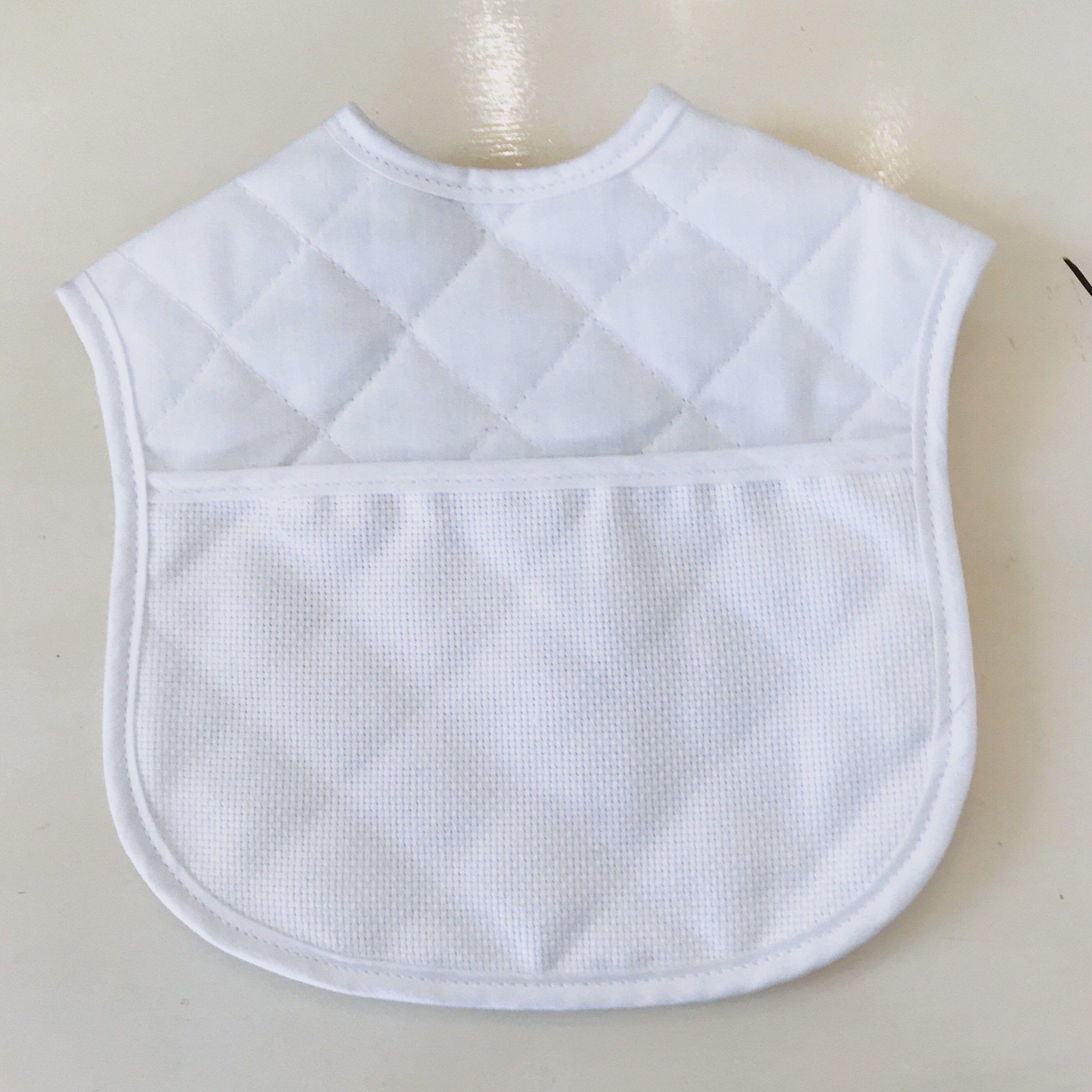 White Quilt stitch Vintage baby Bib
