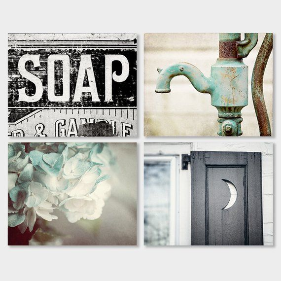 wonderful Bath Wall Art Part - 5: Bathroom Wall Decor, Bathroom Decor, Farmhouse Bathroom Decor, Teal  Turquoise Aqua, Bathroom Art Set
