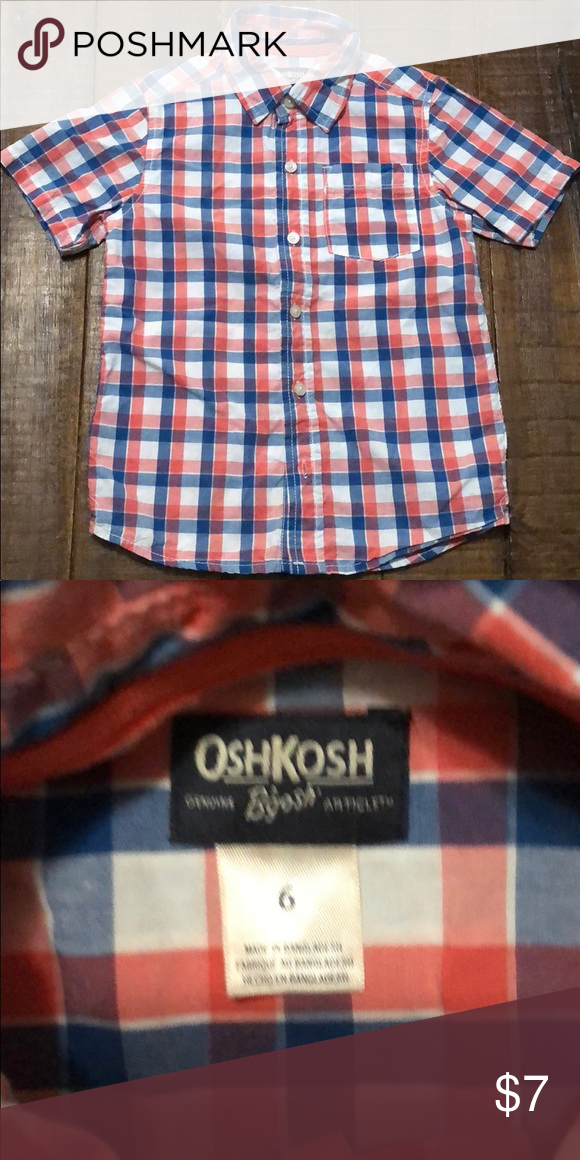 Blue New Oshkosh Plaid Boys Shirt Top Button Down Yellow Coral Navy Blue