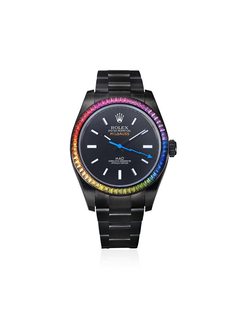 Mad Paris Customised Pre Owned Rolex Milgauss Rainbow 35mm Farfetch Rolex Milgauss Second Hand Watches Rolex