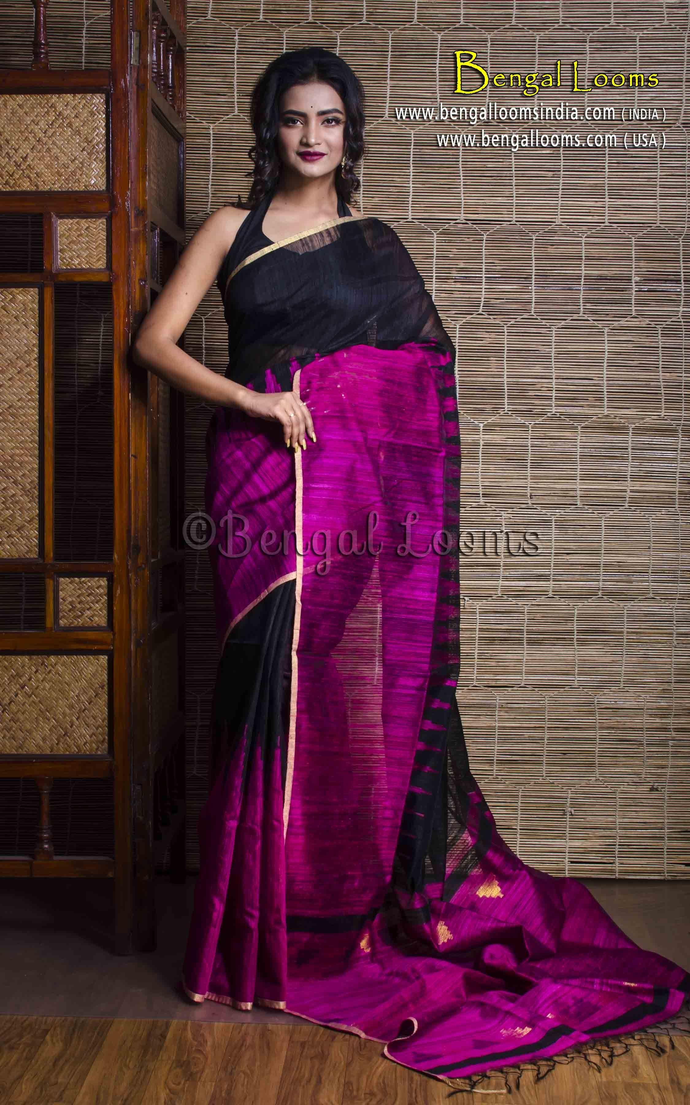 391eb3f25b Pure Handloom Khadi Silk Temple Border Saree in Black and Purple ...