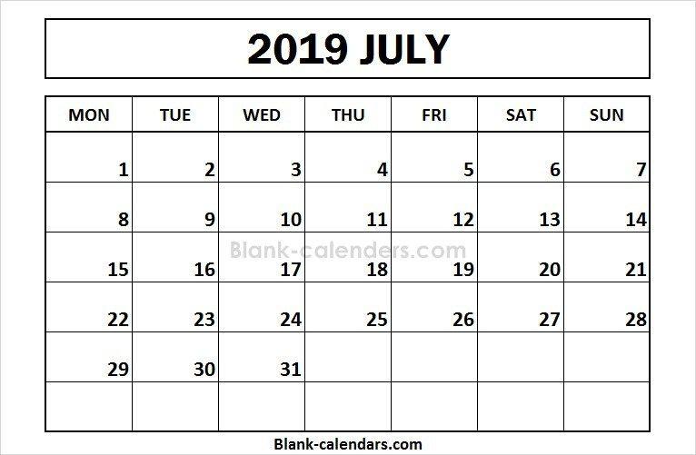 Printable July 2019 Calendar Monday Start 2019 Calendar June