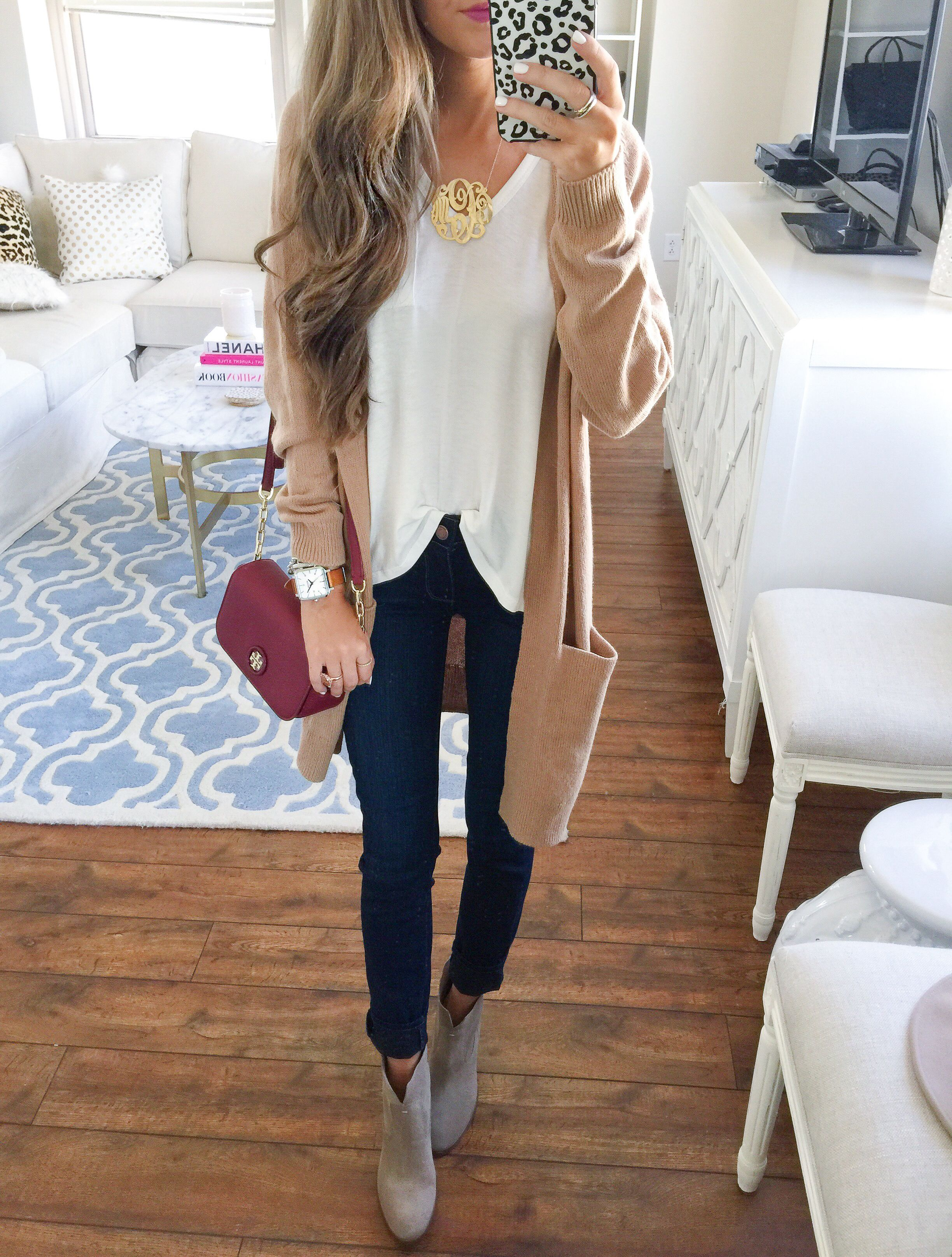 plain white tee   long cardigan and booties from the #NSale ...