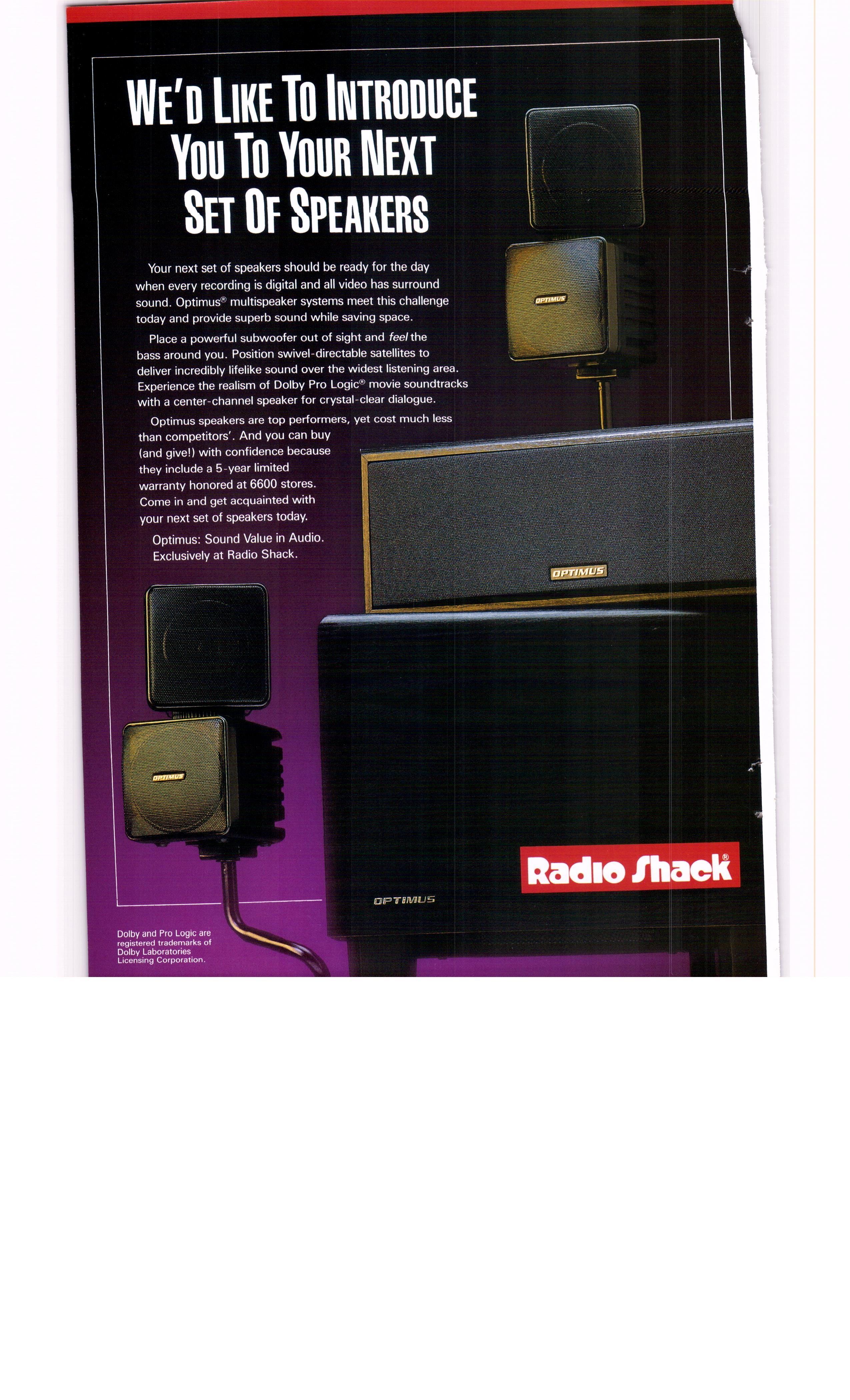 speakers radio shack. 1994 radio shack optimus home stereo speakers - national geographic december 1993