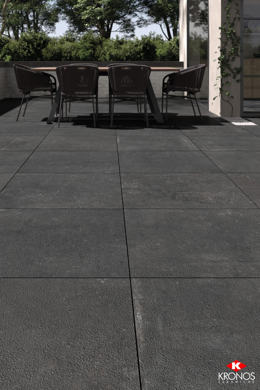 Outdoor Black Tiles With Modern Stone Look Patio Flooring Outdoor Tiles Patio Tiles