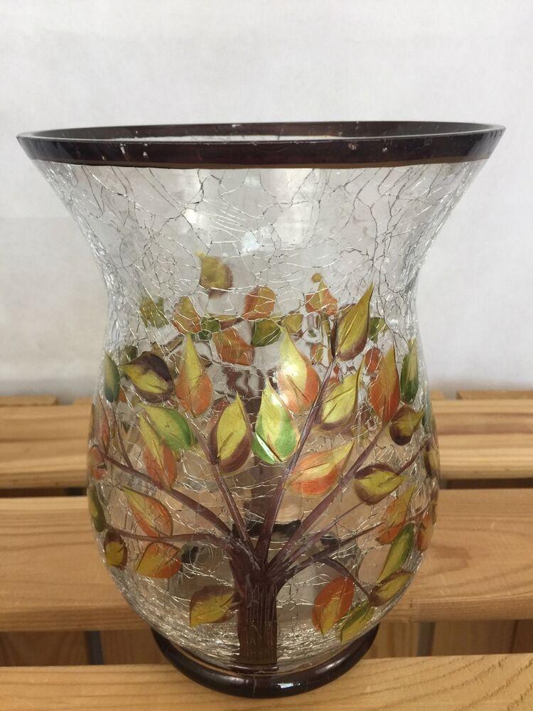 Large Autumn Tree Crackle Glass Hurricane Jar Candle Holder Mosaic Vase Design 8 Unbranded Design Candle Holders Candle Holders Candles For Sale