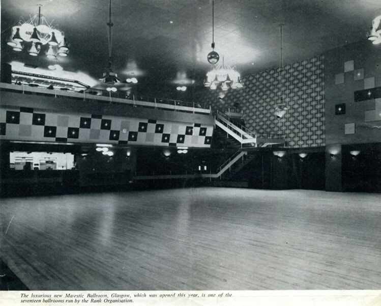 'The luxurious new Majestic Ballroom, Glasgow, is one of seventeen ballrooms run by the Rank Organisation'. (1958)