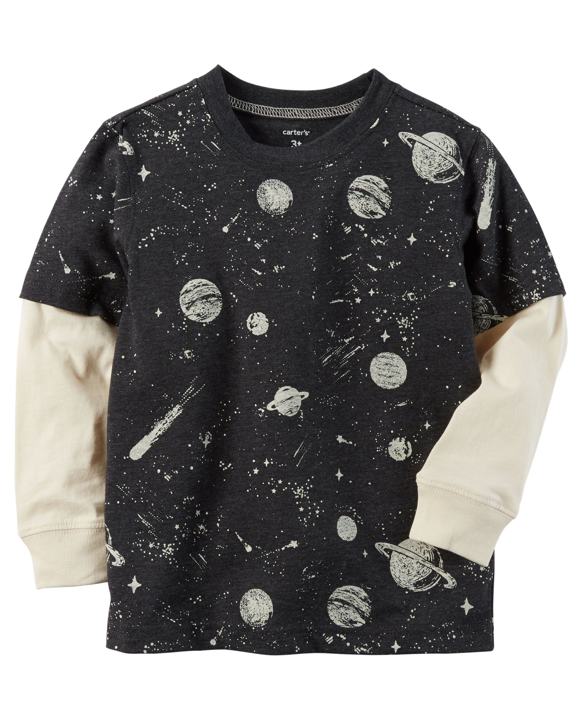 Layered Look Space Graphic Tee