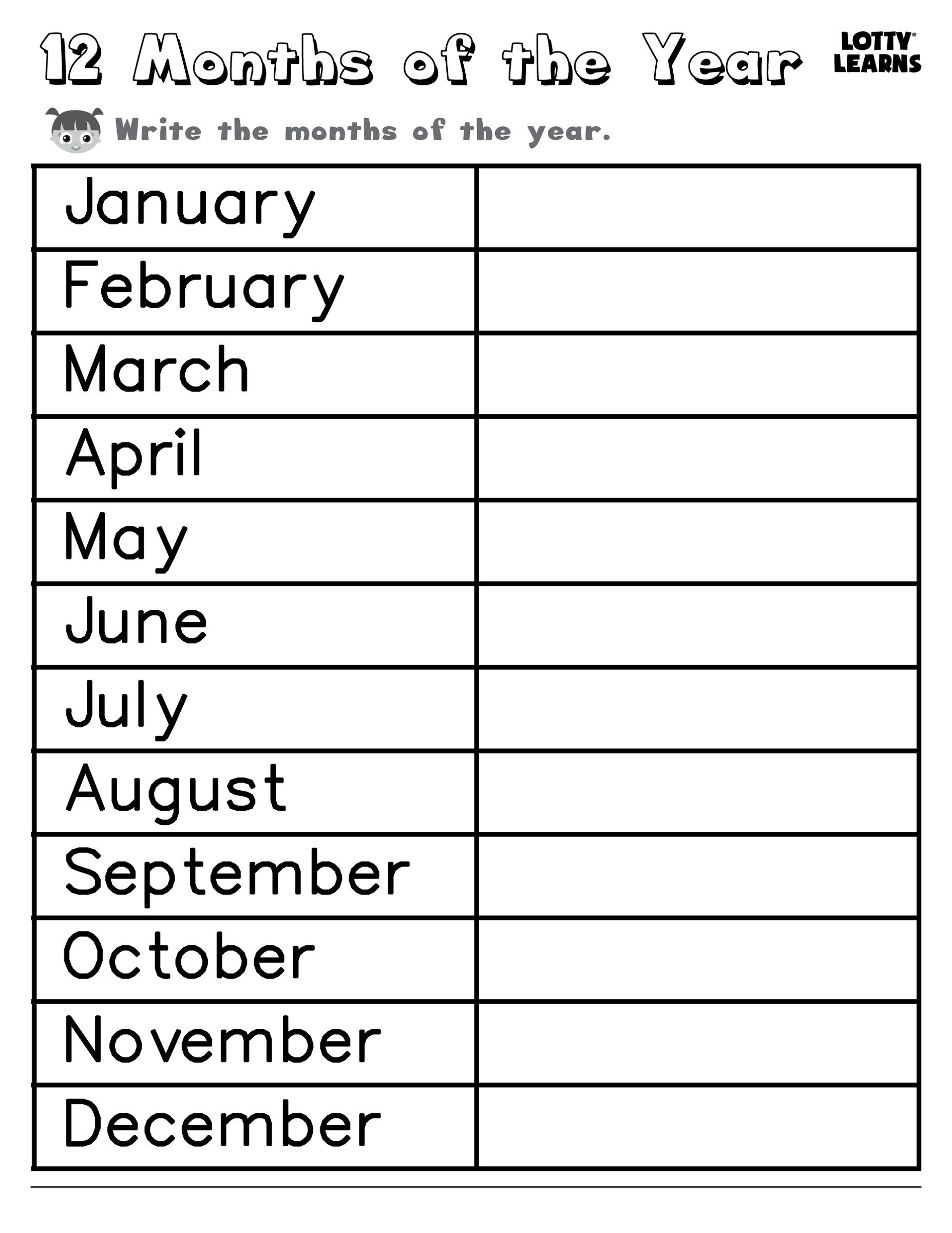 Months Of The Year In With Images