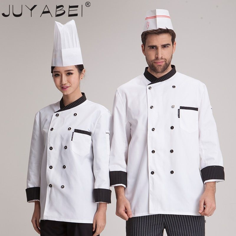 9ad3774b0 Click to Buy << 3 Colors Hotel Chef Uniform Double Breasted Suit Long  Sleeved Chef Jacket Restaurant Waiter Kitchen Uniform Cooking Clothes  #Affiliate