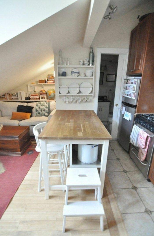 Kücheneinrichtung Mansarde Dachschräge Deko Ideen Küche16 |  Einrichtungsideen | Pinterest | Small Spaces, Attic And Spaces