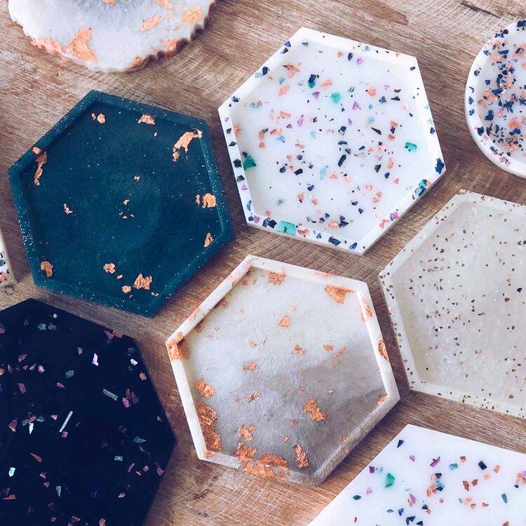 Resin Coasters — Find me on Instagram: @artisthaileynolin #resinart #resinocean #tropicalart #epoxyar