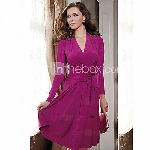 ts oscilación moda v simplicidad cuello las mujeres hasta la rodilla de color sólido visten - USD $ 13.99