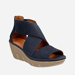 4067f60eb34 Clarene Glamor Navy Nubuck - Womens Wedge Sandals - Clarks® Shoes Official  Site