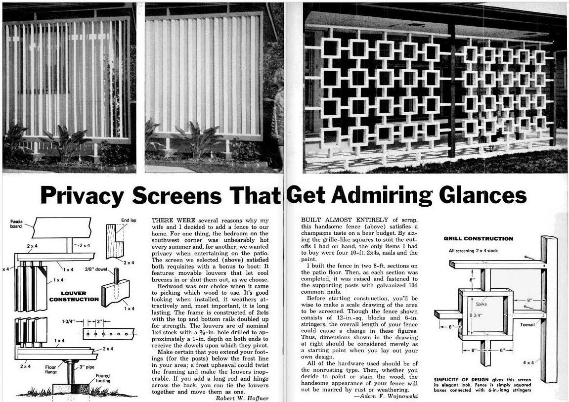 wood privacy screens | outdoor privacy, screens and mid century