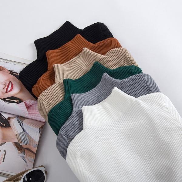 Gigogou Autumn Winter Women Pullovers Sweater Knitted Elasticity Casual Jumper Fashion Slim Turtleneck Warm 3