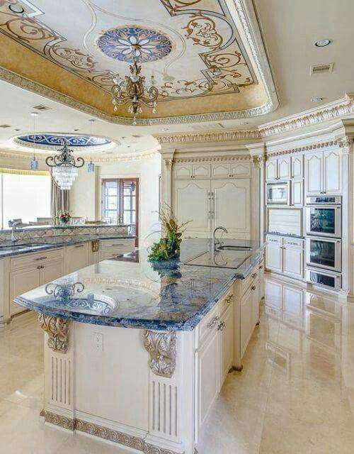 LOVE those beautiful blue countertops!!! Kitchens in 2018