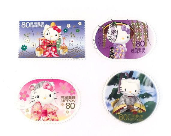 Hello Kitty Japanese used postage stamps  off paper  by ArtStamped