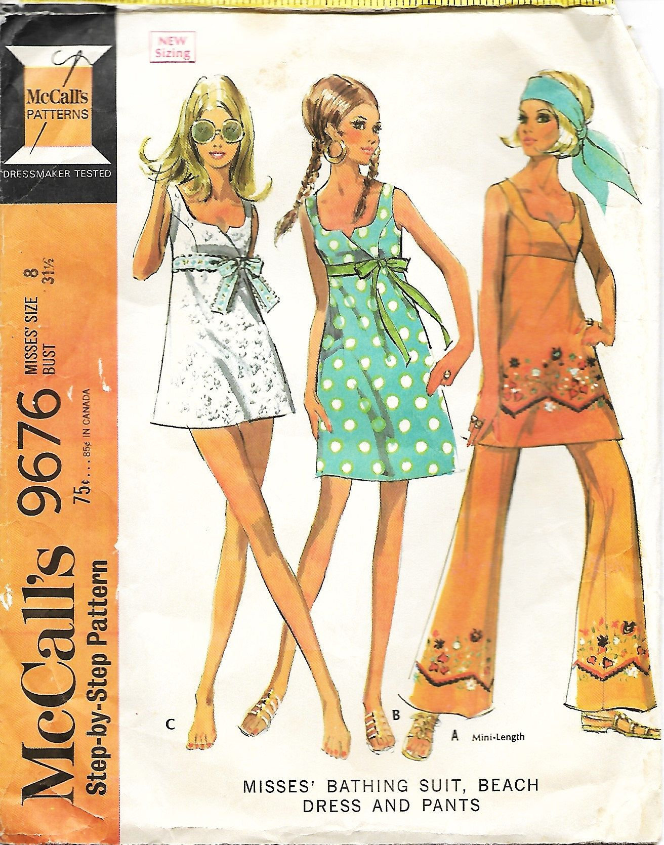 aea94c4d7f 1960's McCall's 9676, Misses Bathing Suit, Beach Dress And Pants Sewing  Pattern, Size 8, Bust 31 1/2 by DawnsDesignBoutique on Etsy
