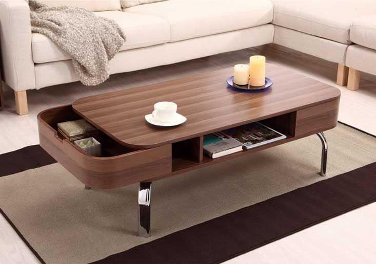 Moderne Design Couchtisch Holz Mit Chrom Metallfusse Inklusive Mit