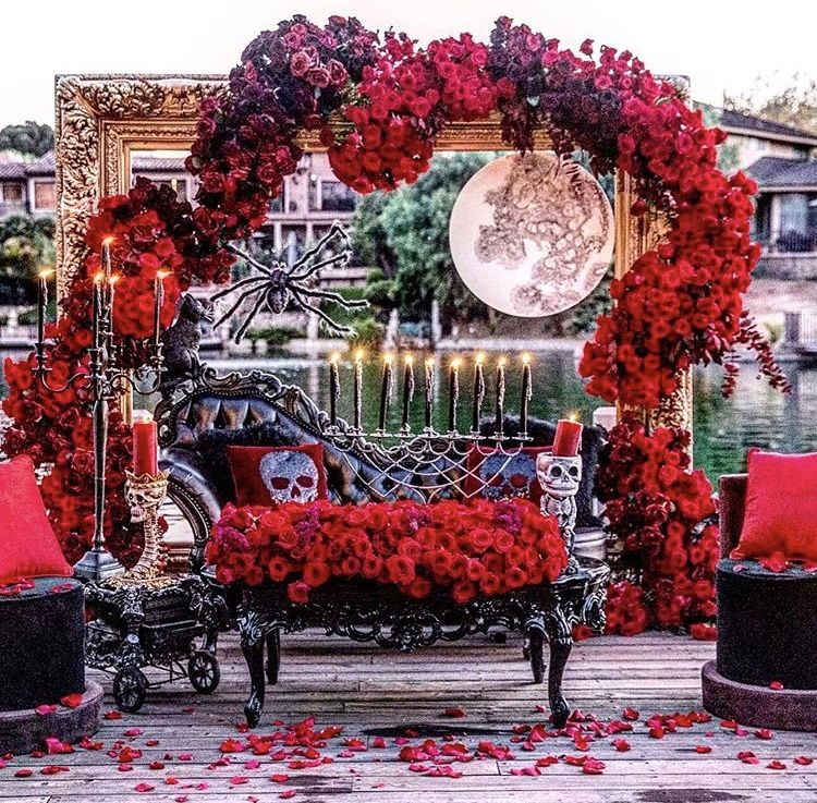 Victorian Wedding Theme Ideas: Red And Black Halloween Backdrop By Celios Design