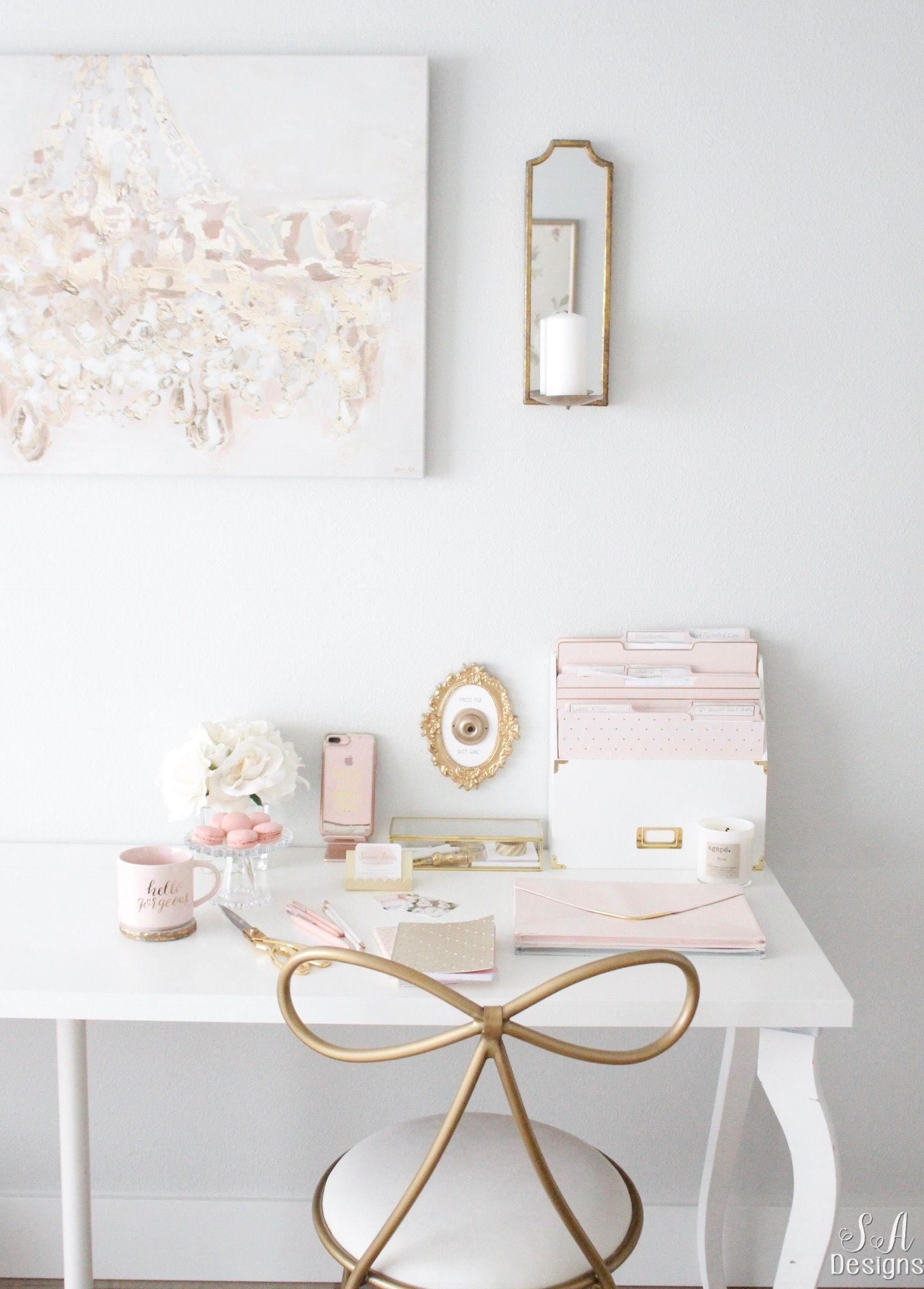 blush and gold glam office reveal offices craft rooms. Black Bedroom Furniture Sets. Home Design Ideas