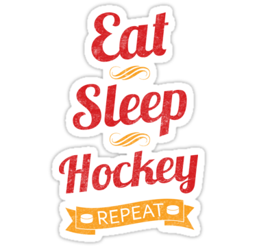 Eat Sleep Hockey Repeat Sticker By Gamefacegear Hockey Text Design Rugby