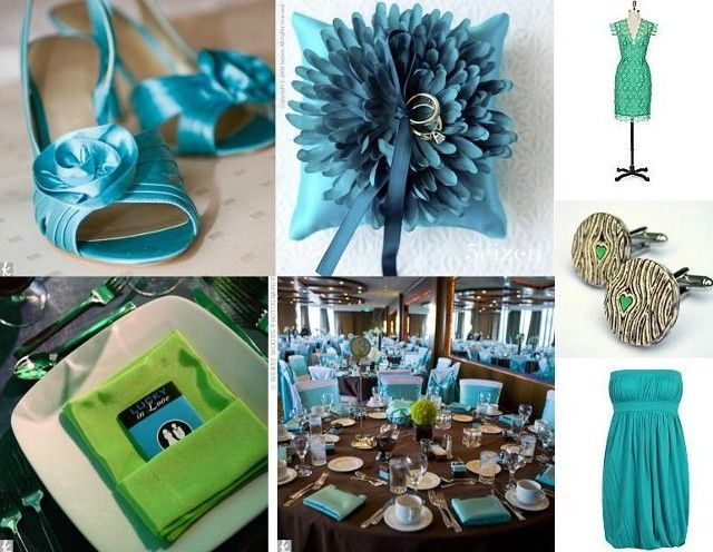 Brown Black Tablecloth White Chair Covers Teal Ribbons Napkins Tiffany Blue