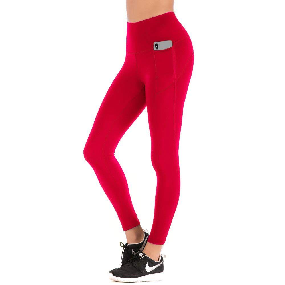 b69cbeb645af9 AmazonSmile: Women High Waist Yoga Pants with Phone Pocket Tummy Control  Wrokout Running Tight 4 Way Stretch Yoga Capri Leggings: Sports & Outdoors