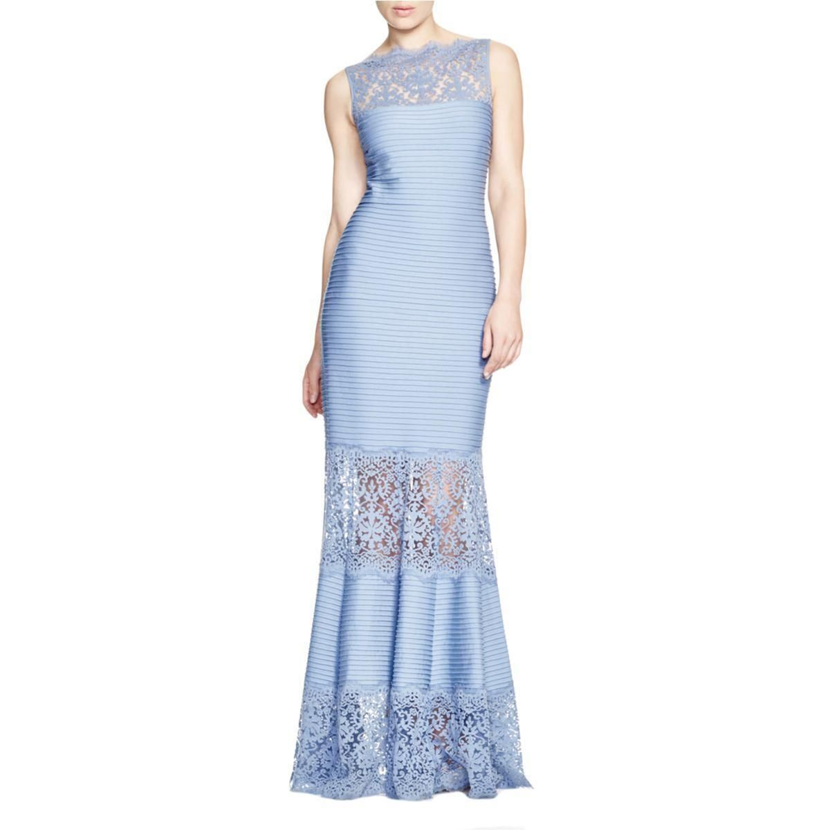 Nice amazing tadashi shoji womens blue lace inset formal dress