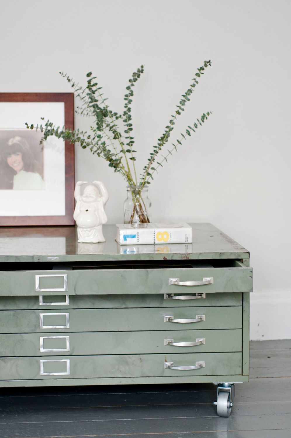 - Architects Flat File Cabinet Coffee Table In Green By Klinker On