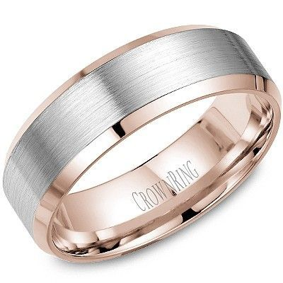Wedding Ring For Him CrownRing Made In Montreal 7mm White Rose Gold Band