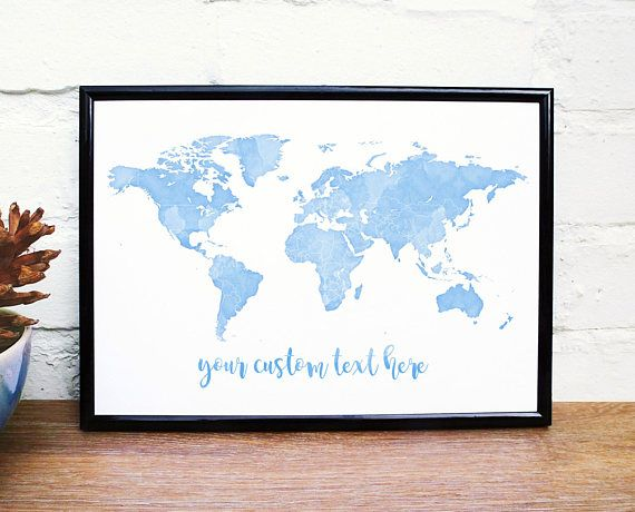Watercolour world map custom coordinates custom quote print watercolour world map custom coordinates custom quote print blue nursery baby name travel map wanderlust personalised poster uk gumiabroncs Image collections