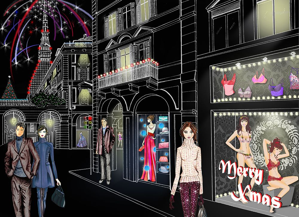 Merry Christmas and Happy New Year 2017!  Fashion windows from Turin city (Italy). Illustration by Paola Castillo http://fashionandillustration.com/