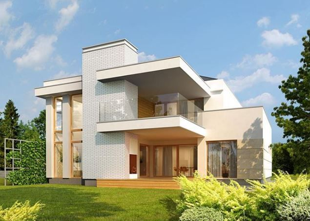 Planos de casas modernas de dos pantas con fachada - Casas con chimeneas modernas ...