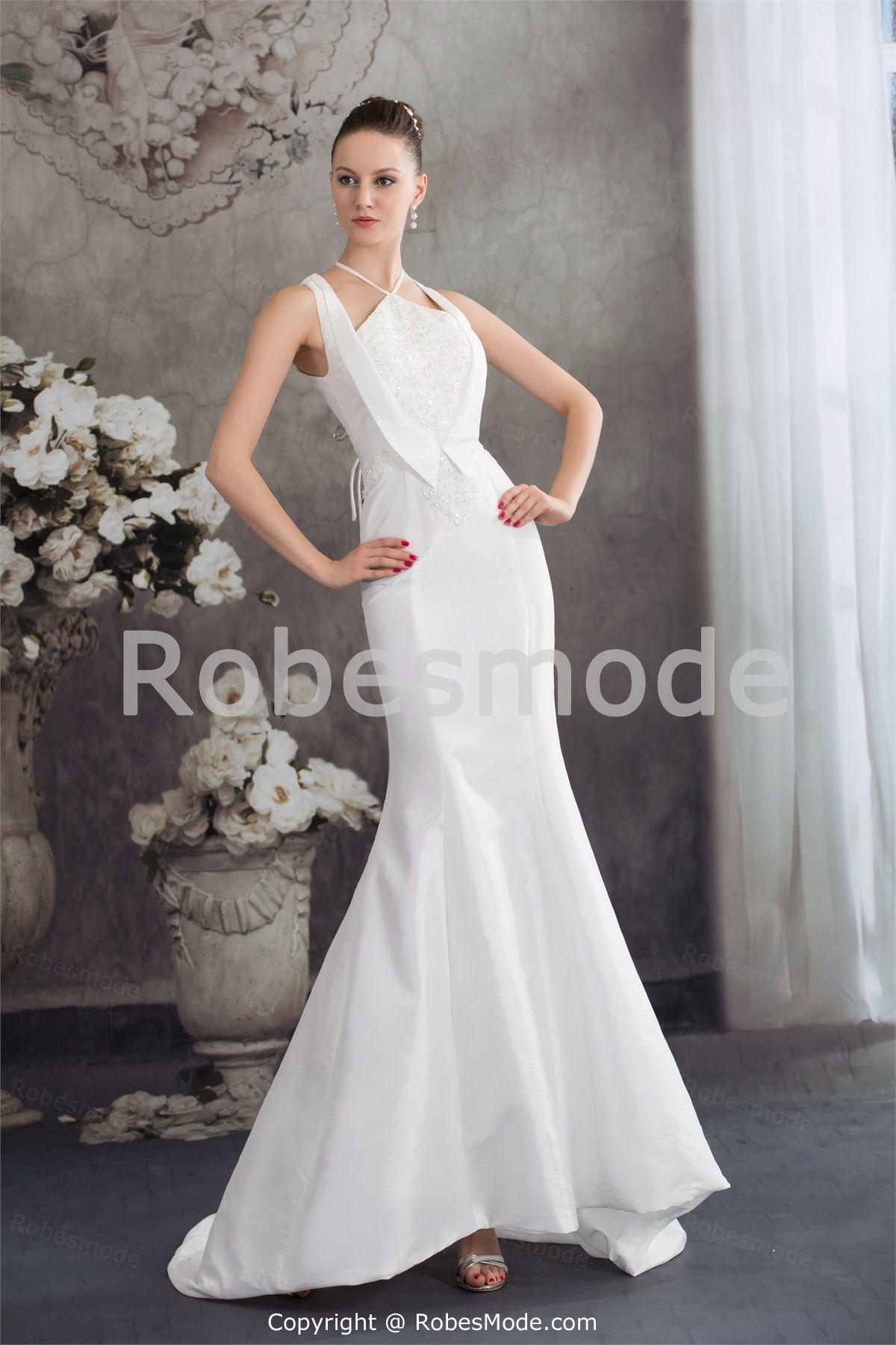 Wedding dresses with beading  Robe de mariée sirène sans manches ornée dappliques en satin et