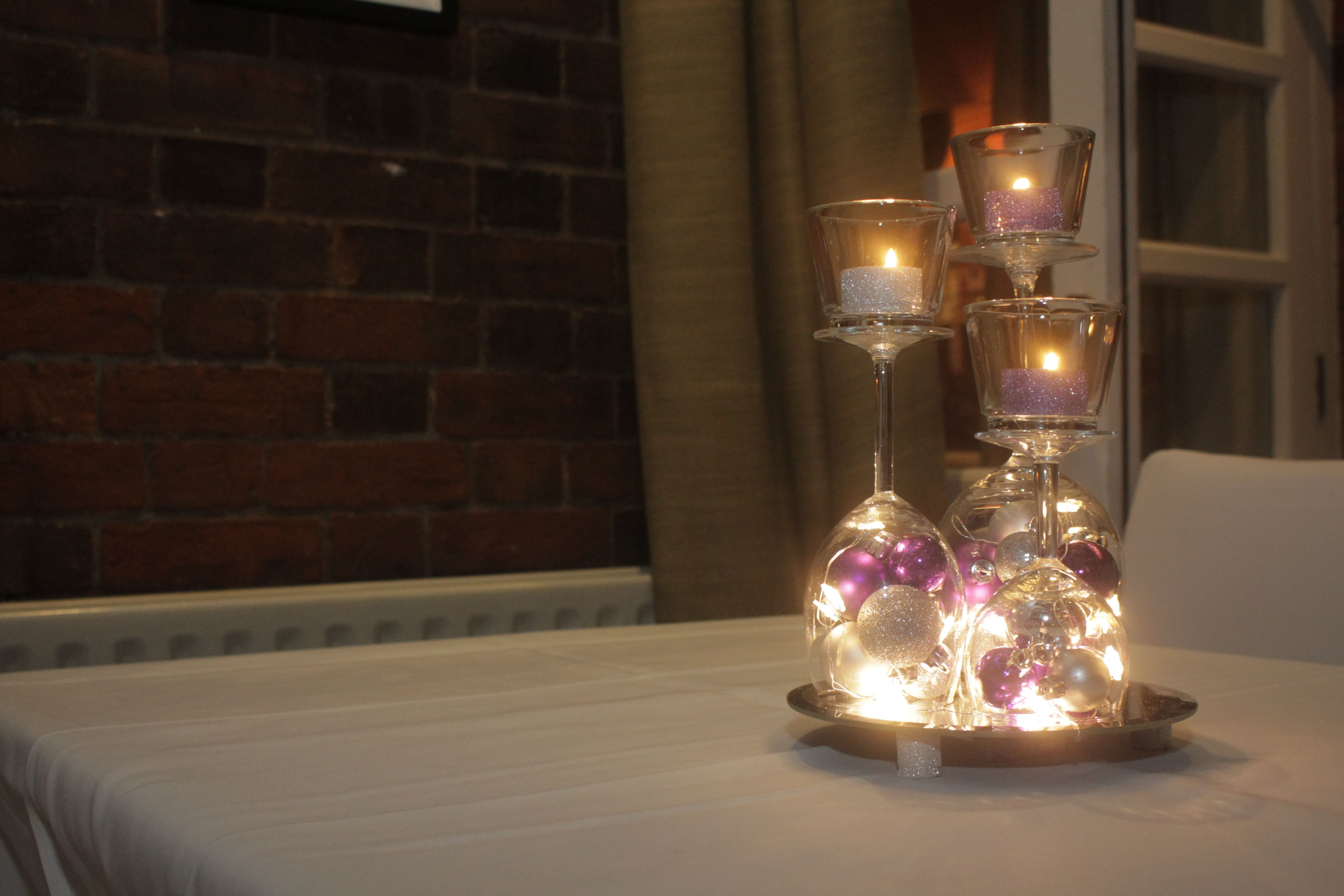 Winter Christmas wedding - purple and silver baubles ther with ... on