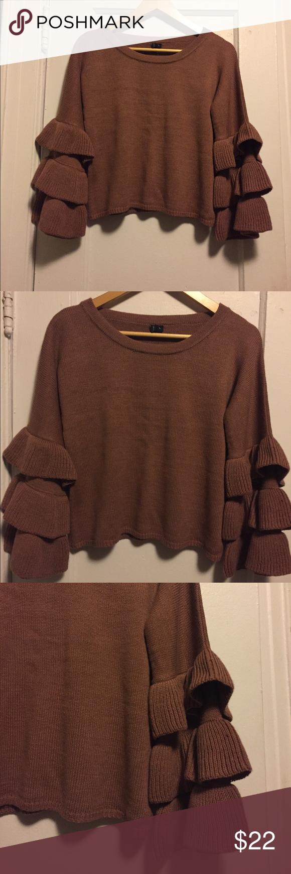 Moon Madison Ruffle Crop Sweater Nwt My Posh Closet