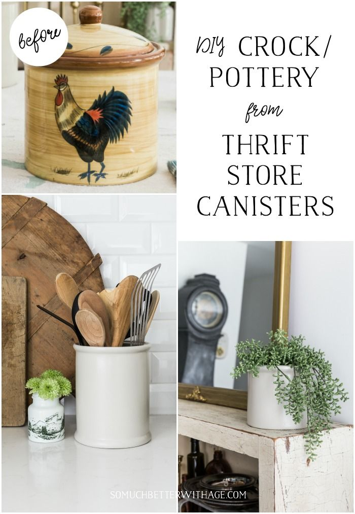 DIY Crock or Pottery from Thrift Store Canister + Video | So Much Better With Age