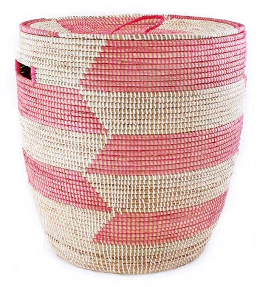 Pink White Chevron Medium Sahara Woven Laundry Hamper Basket