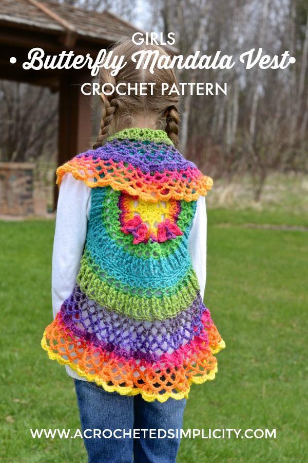 Girls Butterfly Mandala Vest Pattern By Jennifer Pionk Crochet