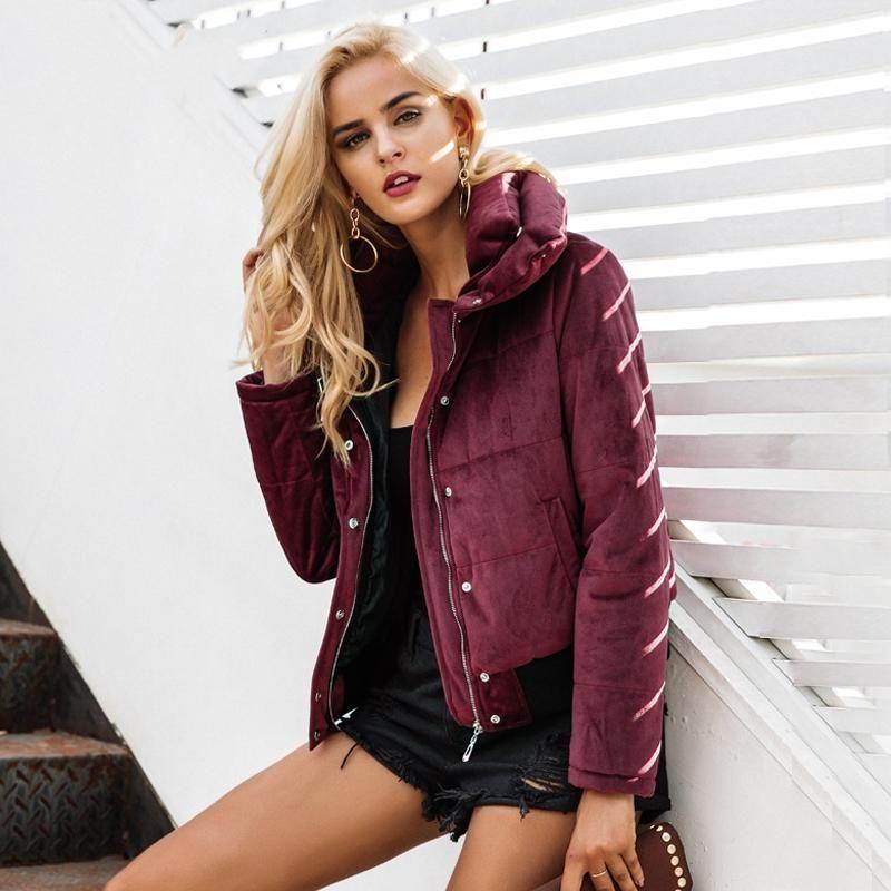 666a5d17bcc Women s Winter Velvet Cotton Padded Basic Jacket