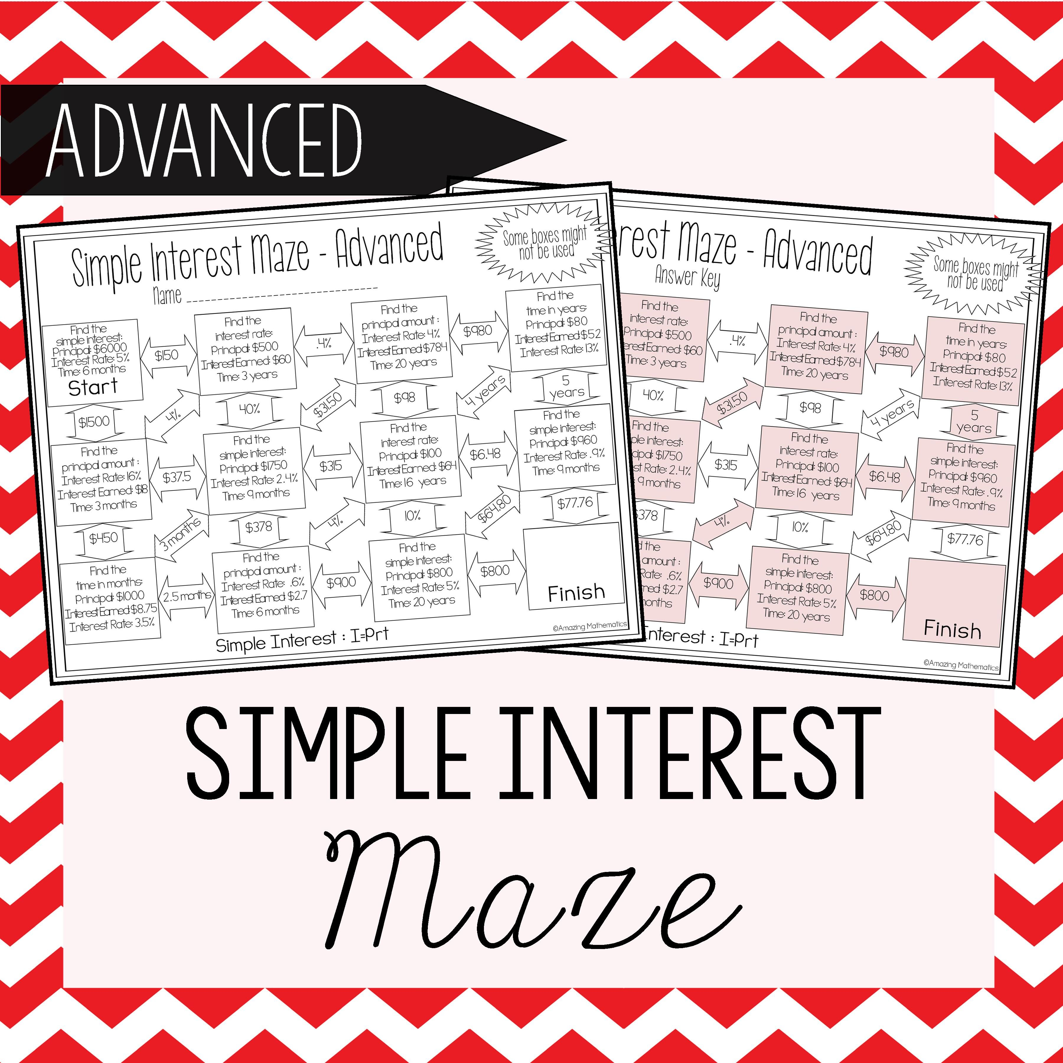 worksheet Compound Interest Practice Worksheet simple interest maze advanced 8th grade math and fun advanced