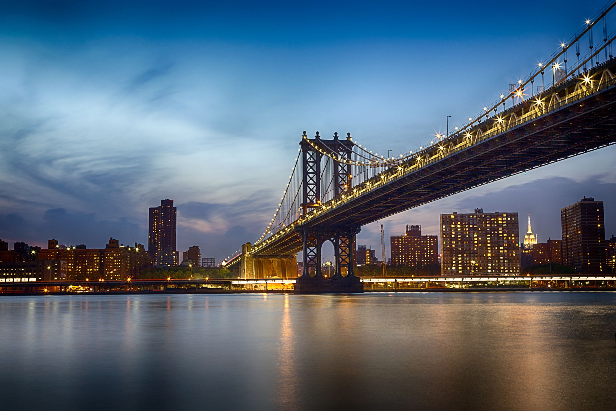 Manhattan Bridge @Blue Hour by Padma Inguva on 500px