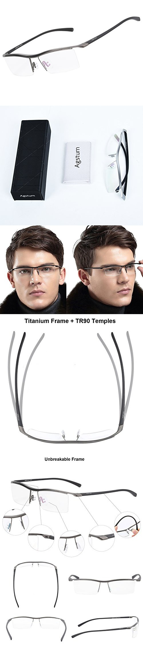 d4e3a071596 Agstum Pure Titanium Half Rimless Business Glasses Frame Optical Eyeglasses  Clear Lens (Gunmetal) Glasses