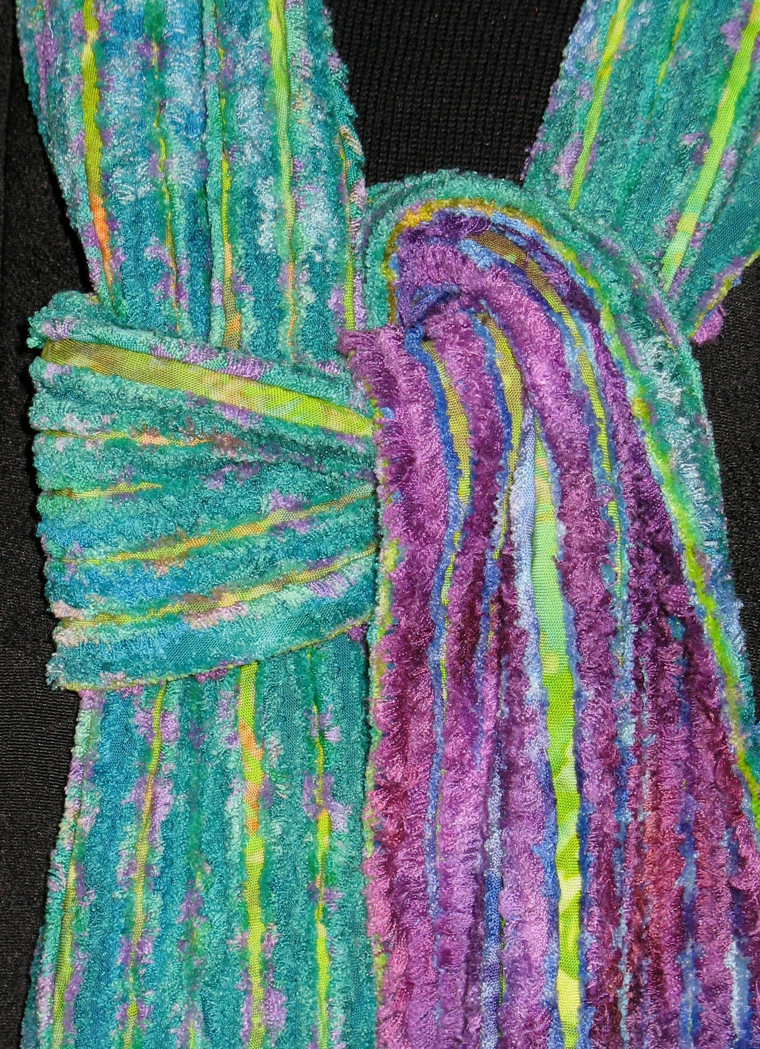 Faux Chenille Scarves Turquoise Amp Lavender Rayon