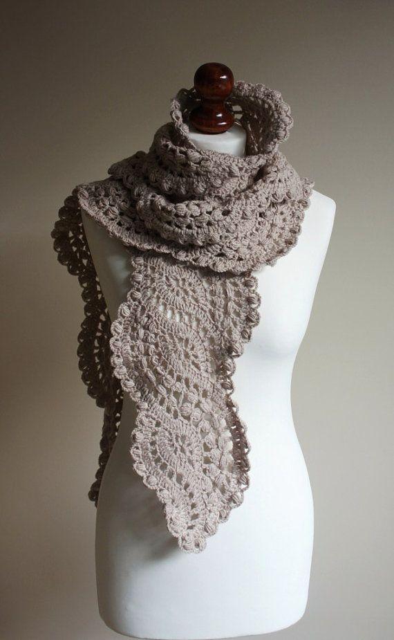Crocheted Lace Scarf Color Latte I Crochet Crochet Lace Scarf