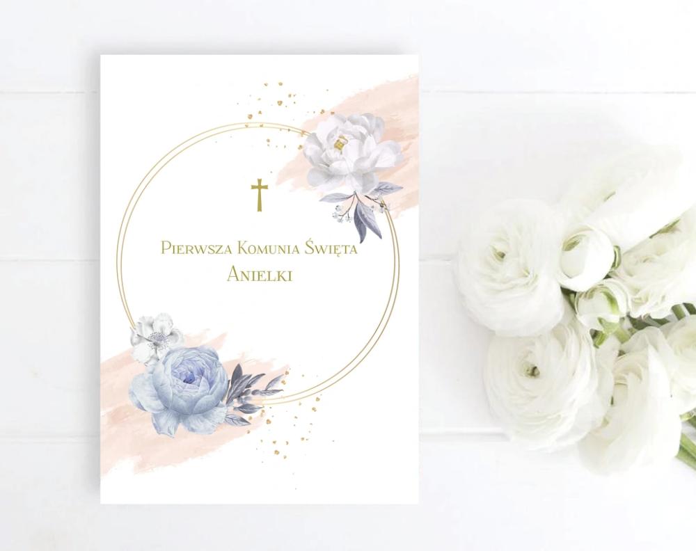 Zaproszenia Na Komunie Pastelowe Roze Kwiaty Place Card Holders Place Cards Cards